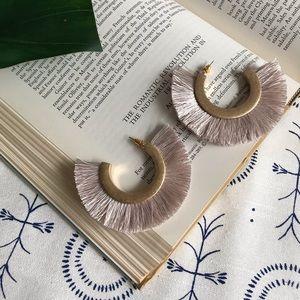 """""""Celia"""" Open hoop Cotton tassel earring dark ivory"""